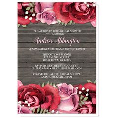 Rustic floral Bridal Shower invitations designed with burgundy red and pink roses at the top and the bottom, over a rustic country brown wood background.