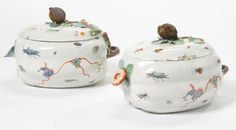 A PAIR OF CHANTILLY KAKIEMON MELON TUREENS AND COVERS  CIRCA 1735-40
