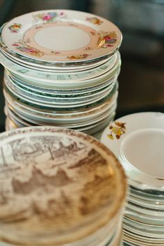 DIY: Why rent? Collect mismatched China at yard sales and consignment stores for a vintage garden party look at your reception.