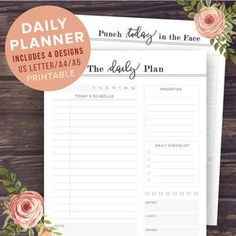 Printable Daily Planner and Daily To-Do List - 4 UNIQUE DESIGNS: The Daily Plan - Punch Today in the Face - Dreams Dont Work Unless You Do - Do What You Love and Do it Often   ► 3 SIZES: US LETTER (8.5 x 11 in), A4 and A5  ► INSTANT DOWNLOAD ► PRINTABLE PDF format  ► PERFECT PRODUCTIVITY BOOSTER ------------------------------------------------------------------------------  This product is an INSTANT DOWNLOAD You can print as many copies as youd like!  For more printable planners and…
