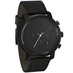CHRONO SILVER/BLACK LEATHER - Men's Watches ~ Vex Fashion