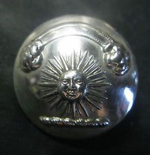 LARGE ANTIQUE SILVER PLATE LIVERY BUTTON - RAINBOW & CLOUDS OVER SUN