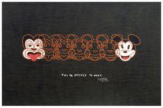 Dick Frizzell, Mickey to Tiki (Reversed), screenprint on 695 x 1000 mm paper, from an edition of New Zealand Art, Fine Art Prints, Framed Prints, Nz Art, Kiwiana, Wall Art For Sale, Art Series, Contemporary Artwork, Box Frames