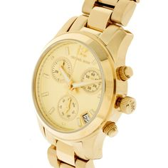 Michael Kors Gold Chronograph Watch ❤ liked on Polyvore