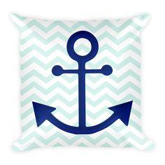 Coastal Pillow with Anchor