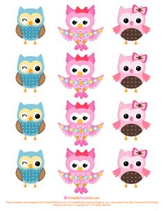 Free Printable Party Invitations Owl Cupcake Toppers Template - could use on cards Free Printable Party Invitations, Owl Invitations, Birthday Invitations, Owl Parties, Owl Birthday Parties, Diy Birthday, Cupcakes Decorados, Owl Cupcakes, Partys