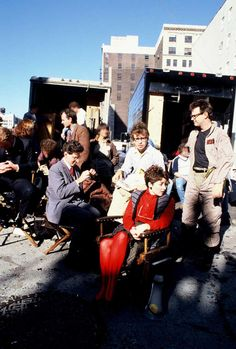 Bill Murray, Harold Ramis, Rick Moranis, Annie Potts and Dan Aykroyd on the set of Ghostbusters.