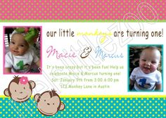 Cute invitation for our Monkey See Monkey Do themed twin birthday.