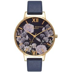 Women's Olivia Burton Leather Strap Watch, 38Mm ($140) ❤ liked on Polyvore featuring jewelry, watches, dial watches, flower jewellery, round watches, flower watches and polish jewelry