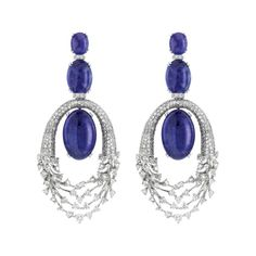 Luminus earrings in 18k white gold with diamonds and tanzanite