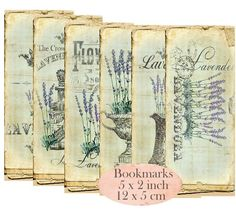 *INSTANT DOWNLOAD* 6 digital Lavender Bookmarks   Image size: 1 Bookmark 5 x 2 inch (5 x 12 cm)  300 dpi high resolution and ready for 8 1/2