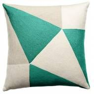 Judy Ross Textiles Hand-Embroidered Chain Stitch Prism Throw Pillow cream/oyster/aqua