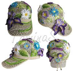 """July morning"" (lace cap, cotton cap, women's baseball cap, crochet cap, irish lace)"