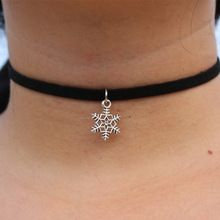 N889 Pendant Chokers Necklaces For Women Black Velvet Suede Gothic Punk Collares Fashion Jewelry Snowflake Bijoux 80's 90's(China (Mainland))