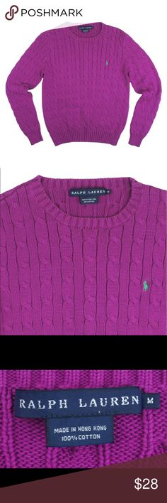 "RALPH LAUREN Magenta Cable Knit Crewneck Sweater Great condition! This magenta cable knit sweater from Ralph Lauren features a crew neckline and lime embroidered pony logo at the bust. Made of 100% cotton. Measures: bust: 38"", total length: 22"", sleeves: 24"" Ralph Lauren Sweaters Crew & Scoop Necks"