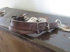 Vintage Brown Metal Suitcase with Leather by BleuBelleMaison, $45.00