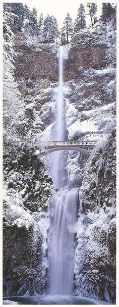 Winter, Multnomah Falls, Columbia River Gorge National Scenic Area, Oregon