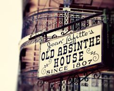 new orleans photography white decor bourbon street art bar room art Jean Laffitte Old Absinthe House on Etsy, $25.00