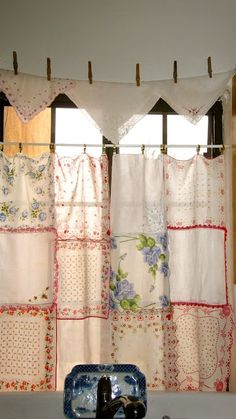 Pinner says: After pinning lots of vintage hankie ideas, I made my own curtains for the kitchen