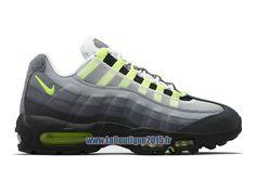 "Officiel Nike Air Max 95 V SP ""Patch"" Neon OG - Chaussures Nike Pas Cher Pour Homme Blanc/Noir-Anthracite-Jaune fluo 747137-170"