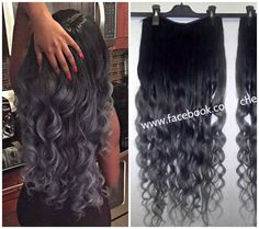 1b Off Black into Dusky Steel Hair by CherieHairExtensions on Etsy