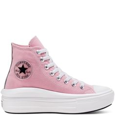 Chuck Taylor All Star Move à tige haute pour Femme Classic Cortez, High Top Chucks, High Top Sneakers, Reebok, New Chuck Taylors, Nike, Pink Black, Black And White, White Lotus