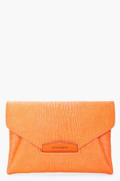 Givenchy Orange Antigona Envelope Clutch