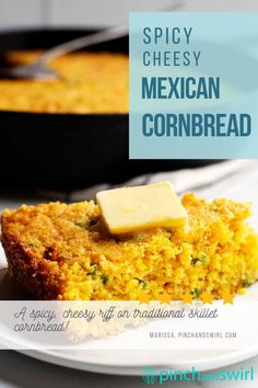 An easy and delicious recipe for Mexican Cornbread! Made in a cast iron skillet for all those crispy edges and loaded with sharp cheddar cheese, jalapenos, and green onions! (no yeast bread, yeastless) Easy Recipe For Mexican Cornbread, Jiffy Cornbread Recipes, Skillet Cornbread, Rock Crock Recipes, Mexican Food Recipes, Yummy Recipes, Easy Summer Meals, Healthy Summer Recipes, Potluck Side Dishes