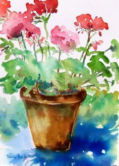 Watercolor Paintings of Geraniums Watercolor Flowers Tutorial, Easy Watercolor, Watercolor Cards, Watercolor Landscape, Abstract Watercolor, Watercolor Illustration, Watercolor Paintings For Beginners, Watercolor Pictures, Flower Art