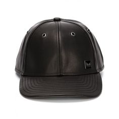 MELIN - Nappa Leather Baseball Cap - M20153111/THE VOYAGE BLACK - H. ($309) ❤ liked on Polyvore featuring accessories, hats, black hat, baseball cap hats, baseball cap, baseball hats and black baseball hat