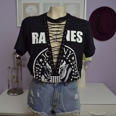 SMALL Ramones lace up tee Made by myself not LF LF Tops Tees - Short Sleeve