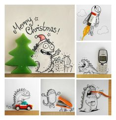 Lovely Doodles Interact with Real Life Objects by Manik and Ratan #Doodle, #Drawing, #Illustration, #Objects