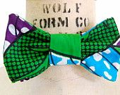 African Print Bow Tie for Men or Women. Green blue/ turquoise and purple. The perfect wedding acceesory