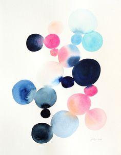 11 x 14 Cluster in Blue & Magenta Original by YaoChengDesign