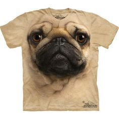The adorable face of a cute lil puggy pug right on your shirt!