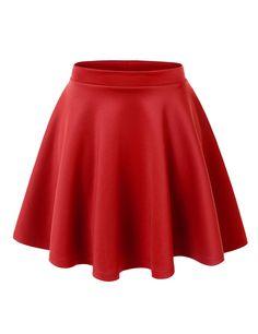 MBJ Womens Basic Versatile Stretchy Flared Skater Skirt at Amazon Women's Clothing store: