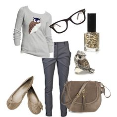 """Geek Chic"" with owls on Polyvore  So me! Geek Chic back to school"