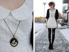 Peter Pan collar dress with photo locket