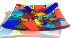 colorful art glass 15X15cm titled Life's Colours is gorgeous coloured art glass gift bowl plate handcrafted unique artistic original door jensstudio op Etsy https://www.etsy.com/nl/listing/173474826/colorful-art-glass-15x15cm-titled-lifes