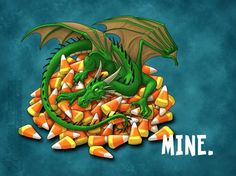Alert: Cute dragon high on Halloween candy corn. Do not approach. Considered highly dangerous.
