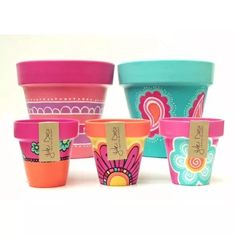 Macetas Pintadas A Mano - $ 180,00 Painted Flower Pots, Painted Pots, Pottery Painting, Diy Painting, Clay Pot Crafts, Diy And Crafts, Flower Pot Design, Cement Pots, Posca