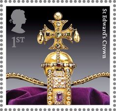 Royal Mail class postage stamp from a 2011 series featuring The Crown Jewels - this stamp is of St Edward's Crown Royal Mail Stamps, Uk Stamps, St Edward's Crown, Crown Jewels, Great Britan, Postage Stamp Collection, Vintage Stamps, British History, Stamp Collecting