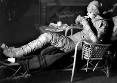 Elsa Lanchester taking her tea break during the production of Bride of Frankenstein (1935)