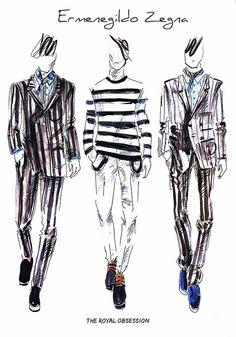 Ermenegildo Zegna Menswear Spring 2015. Fashion Illustration by Doryanna Popa.