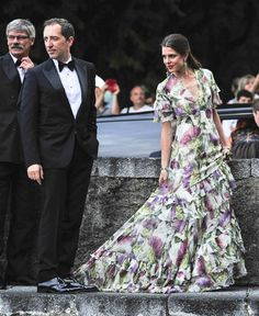 Charlotte Casiraghi in a Gucci gown and Gad Elmaleh - Wedding of Prince Pierre Casiraghi and Beatrice Borromeo in Italy