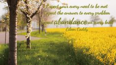 Expect your every need to be met.  Expect the answer to every problem. Expect abundance on every level. ~ Eileen Caddy