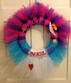 "Welcome to wonderland"" door wreath alice in wonderland birthday or party theme on Etsy, $35.00"