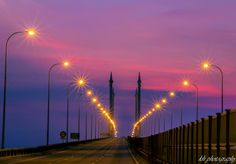 Penang Bridge by night Bridges, Wind Turbine, Celestial, Sunset, Night, Travel, Outdoor, Outdoors, Viajes
