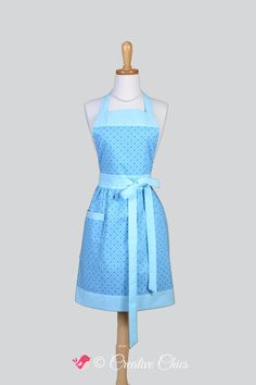 Full Bib Womens Apron - Classic Vintage Apron in Modern Baby Blue Geometric Full Kitchen Apron Personalize or Monogram #CreativeChics