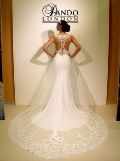 Dando London Signature 2017 - Bakerloo - Wedding Dress - laced and crepe column gown with illusion neckline and back with removable glass train Fancy Wedding Dresses, Wedding Dress With Veil, Wedding Dress Train, Stunning Wedding Dresses, Lace Mermaid Wedding Dress, Mermaid Dresses, Wedding Gowns, Wedding Stuff, Wedding Ideas